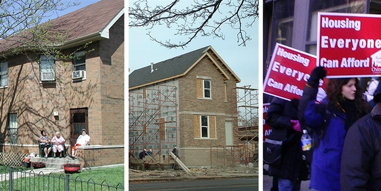 Three images: three individuals sitting on a porch, a home under construction, and individuals at an affordable housing rally