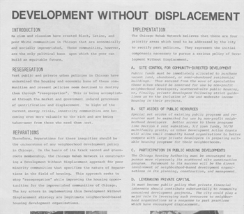 "Photograph of CRN's ""Development without Displacement"" policy platform from the 1980s"